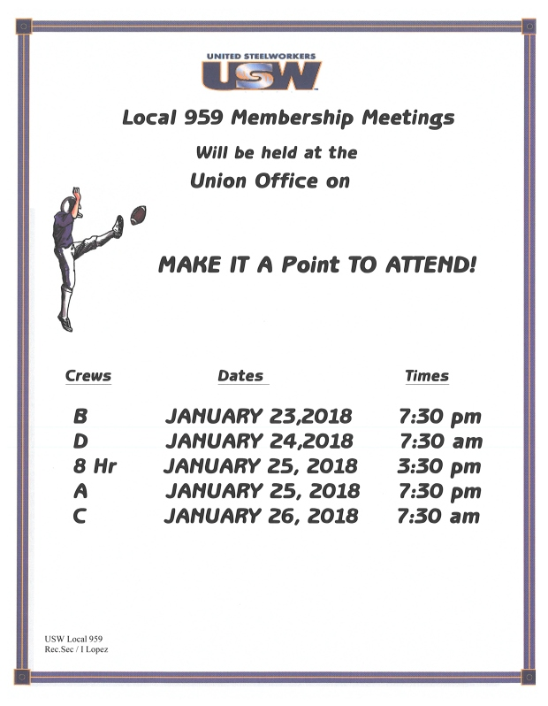 membership meeting Jan 2018