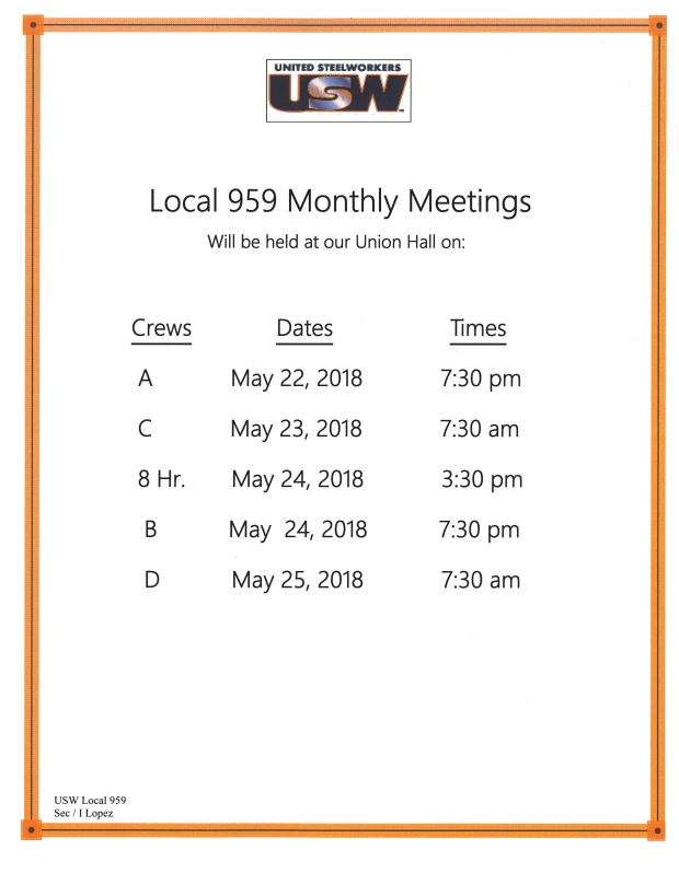 may 2018 meetings