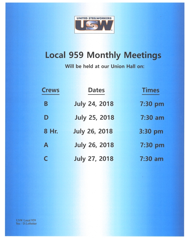 July 2018 Membership meetings