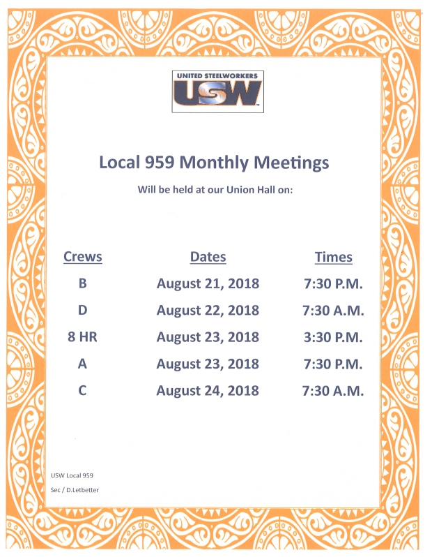 August Membership Meetings