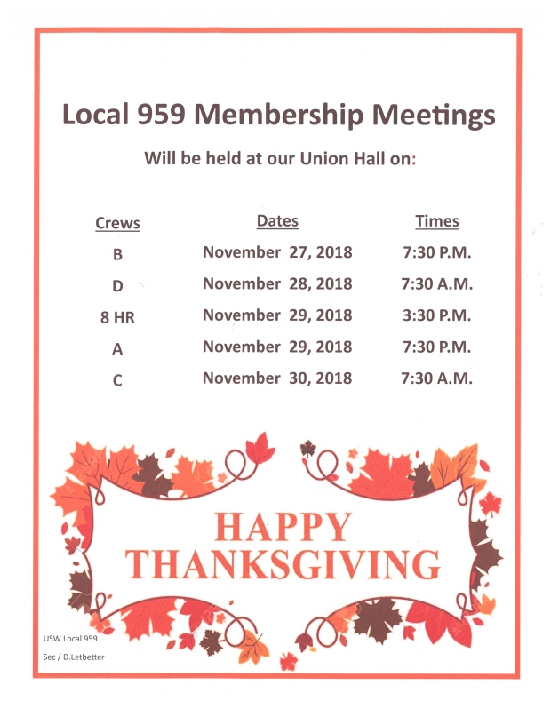 November 2018 membership meetings