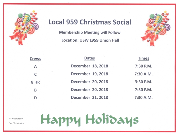 Christmas Social 2018 and Meetings