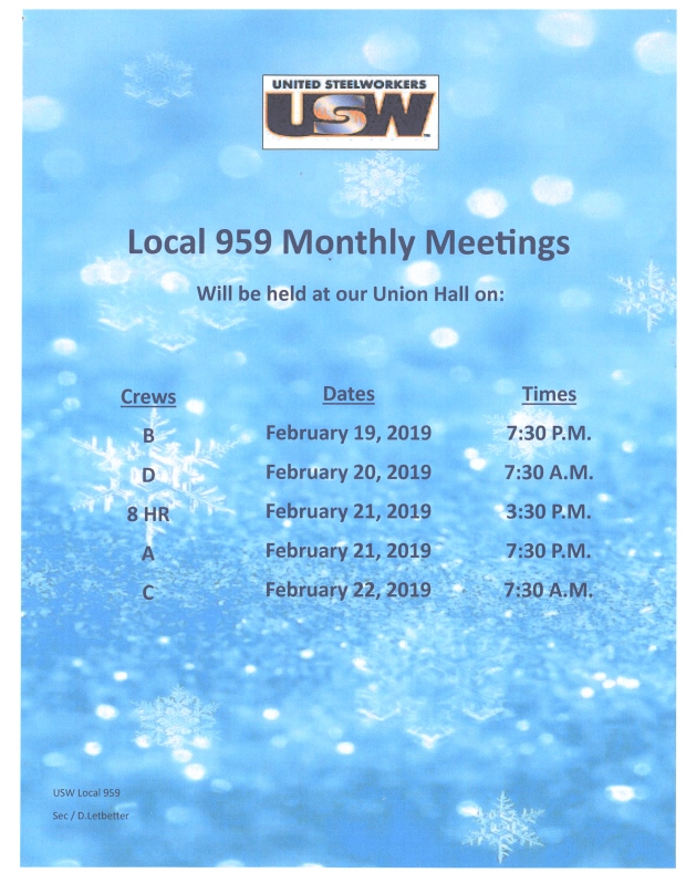 feb 2019 meetings