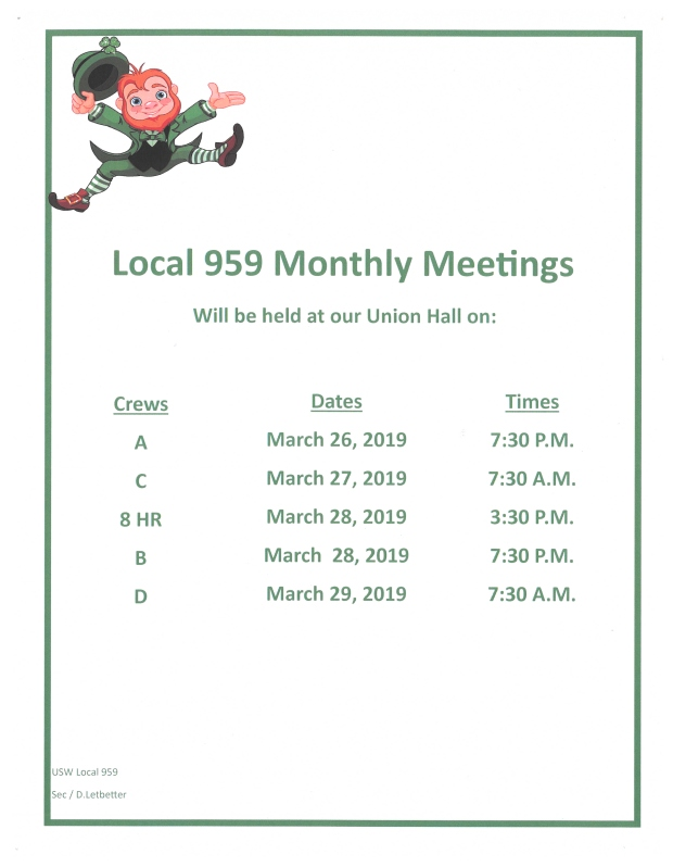 march 2018 membership meetings