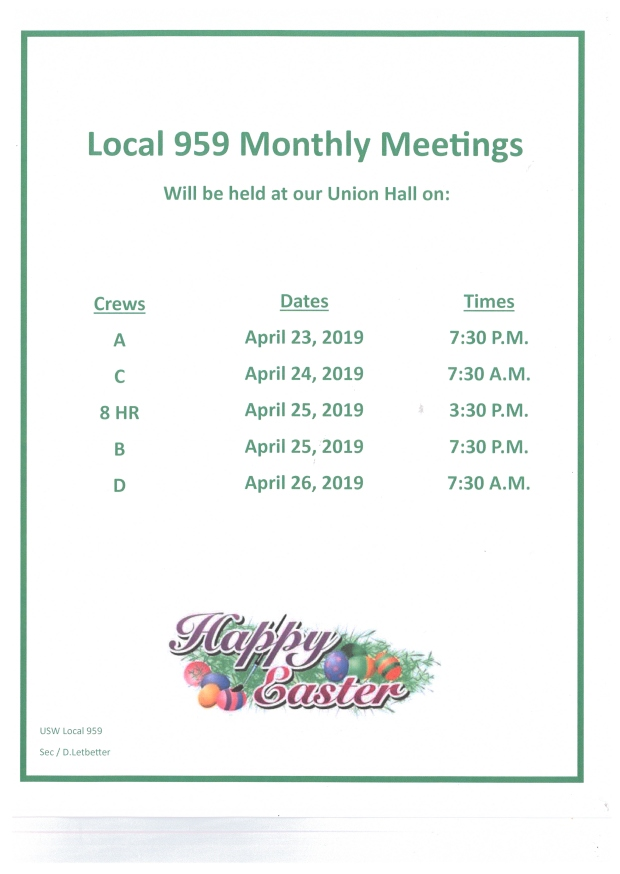 April 2019 membership meetings