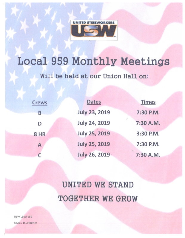 July 2019 membership meetings