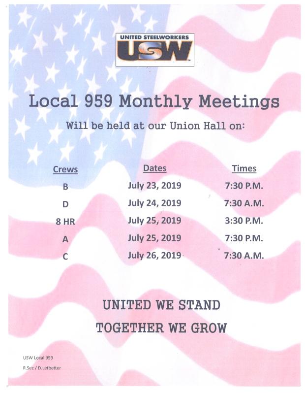 July 2019 membership meetings