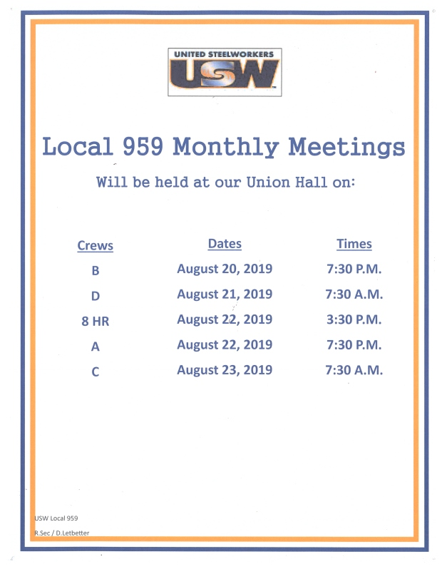 August 2019 membership meetings