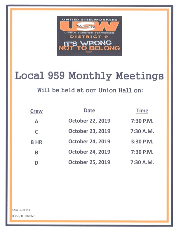 oct 2019 membership meetings