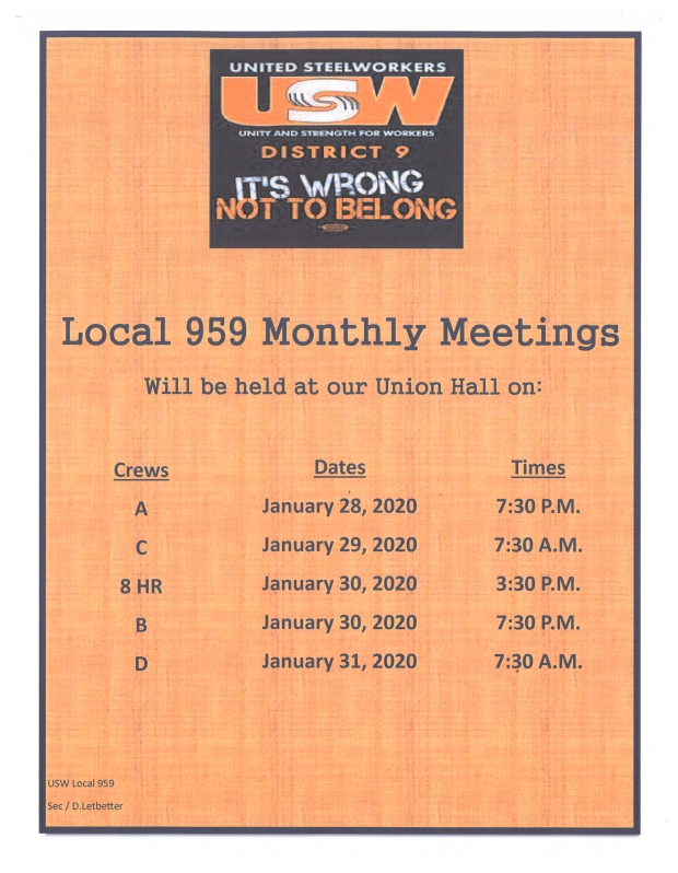 JANUARY 2020 meetings